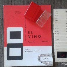 Coleccionismo de vinos y licores: 16 DIAPOSITIVAS Y LIBRETO - TEMÁTICA VINO - CON ILUSTRACIONES Y FOTOGRAFÍAS DE ÉPOCA - 1967. Lote 66281986