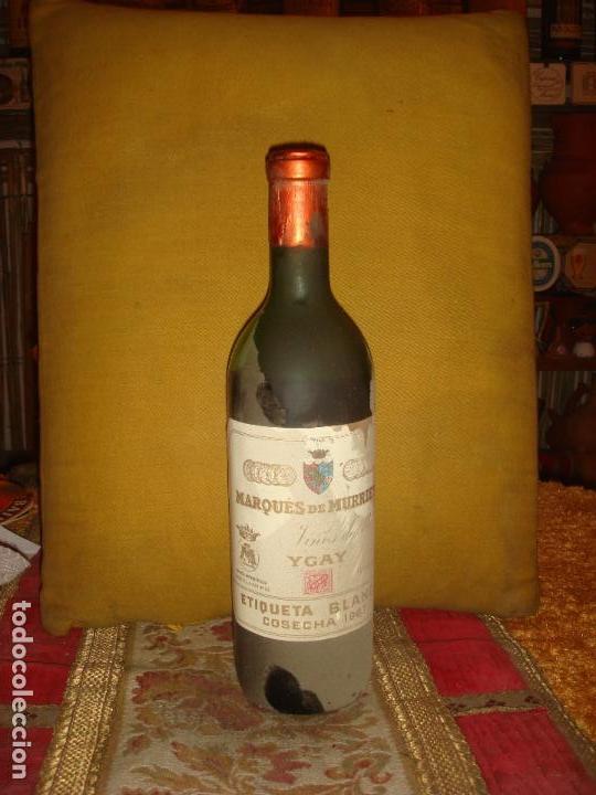 ANTIGUA BOTELLA DE VINO DE RIOJA MARQUES DE MURRIETA. ETIQUETA BLANCA. COSECHA 1967 (Coleccionismo - Botellas y Bebidas - Vinos, Licores y Aguardientes)