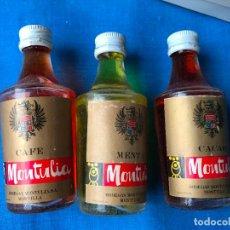 Coleccionismo de vinos y licores: TRIO BOTELLITA BOTELLIN MONTULIA BODEGAS MONTULIA. Lote 82788160