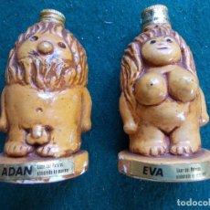 Coleccionismo de vinos y licores: DOS BOTELLITAS DE CERAMICA DE ADAN Y EVA. Lote 88957916