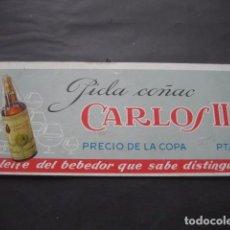 Coleccionismo de vinos y licores: ANTIGUO CARTEL CARTON DURO. COÑAC CARLOS III. Lote 96799887