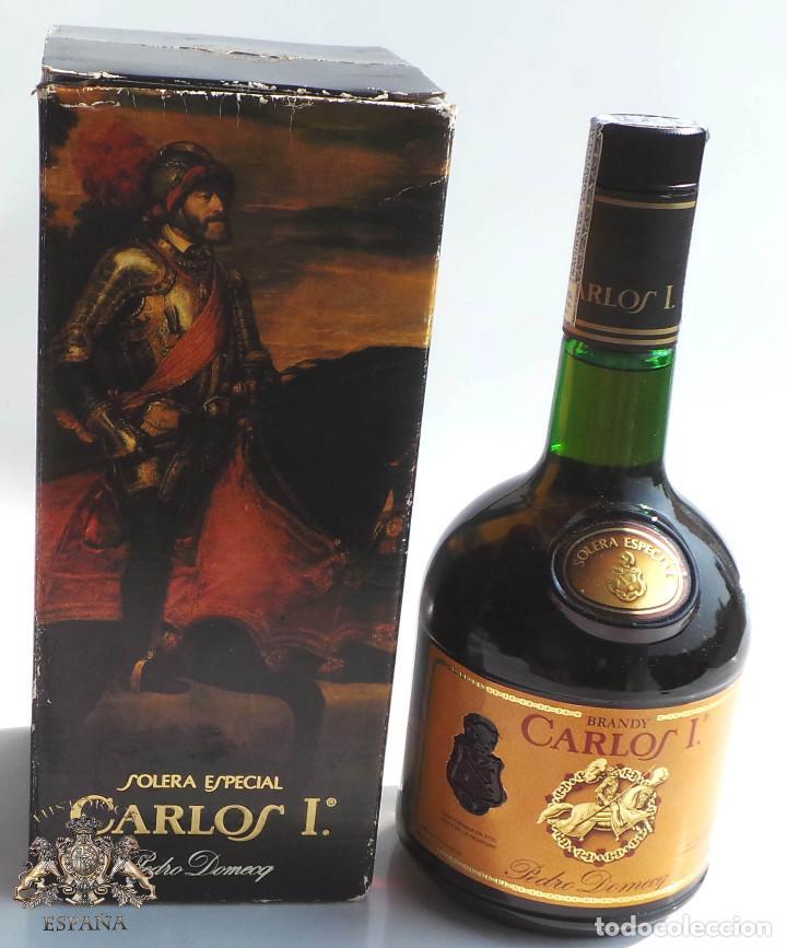 BOTELLA BRANDY CARLOS I - PRECINTO 8 PESETAS - 750ML (Coleccionismo - Botellas y Bebidas - Vinos, Licores y Aguardientes)