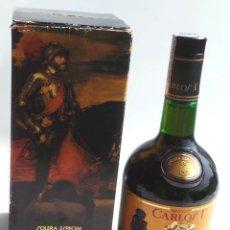 Coleccionismo de vinos y licores: BOTELLA BRANDY CARLOS I - PRECINTO 8 PESETAS - 750ML. Lote 97611935