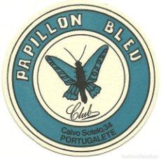 Coleccionismo de vinos y licores: ANTIGUO Y RARO POSAVASOS PAPILLON BLEU - PORTUGALETE . Lote 97638219