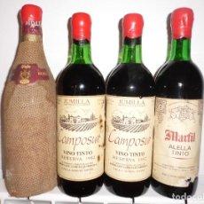 Coleccionismo de vinos y licores: LOTE 4 BOTELLAS VINO TINTO RIOJA, JUMILLA Y ALELLA, 1970 Y 1982.. Lote 101485899