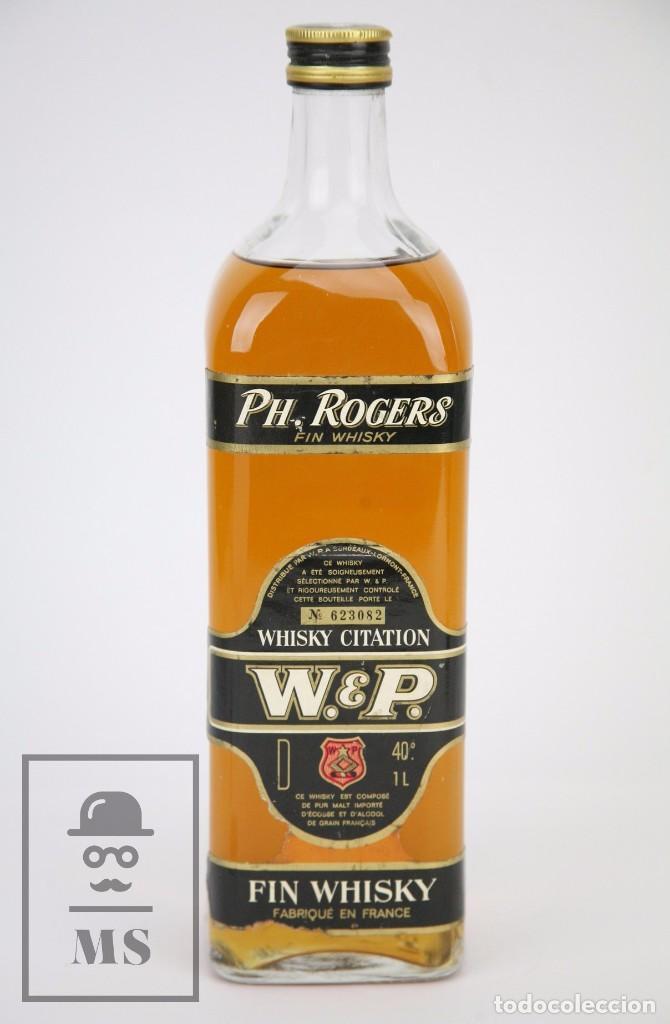 Coleccionismo de vinos y licores: Botella de Whisky - Ph. Rogers. Fin Whisky, 40º, 1 L - Nº 623082 - Llena - Francia, 1978 - #JSW - Foto 2 - 109775198