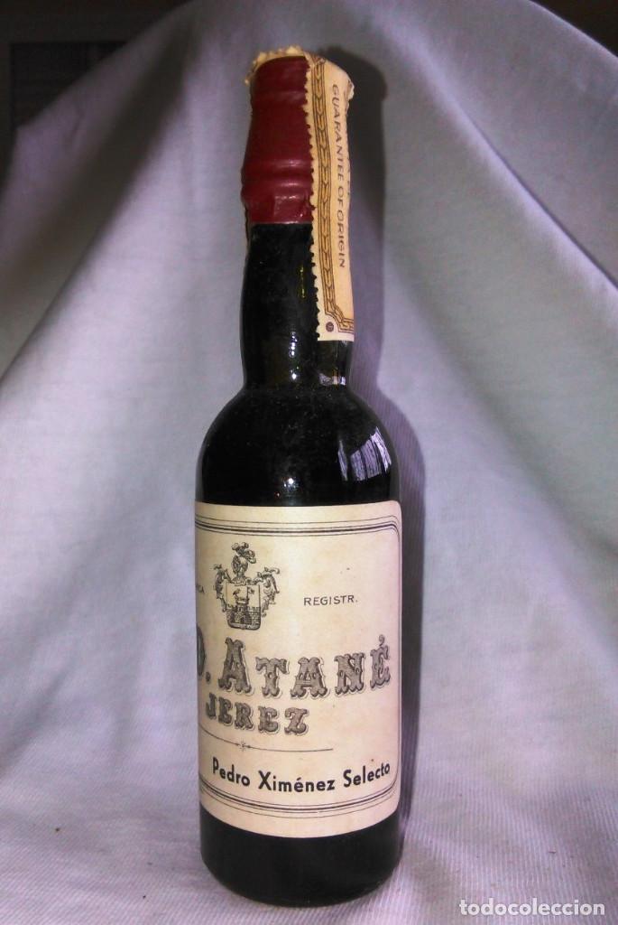 Coleccionismo de vinos y licores: Botellín de vino Pedro Ximénez Selecto. Bodegas Eduardo Delage, E.D. Atané. Jerez. Botellita. A1221. - Foto 2 - 103212887
