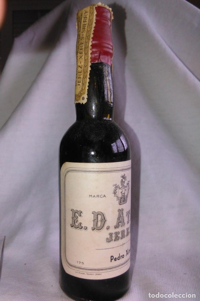 Coleccionismo de vinos y licores: Botellín de vino Pedro Ximénez Selecto. Bodegas Eduardo Delage, E.D. Atané. Jerez. Botellita. A1221. - Foto 3 - 103212887
