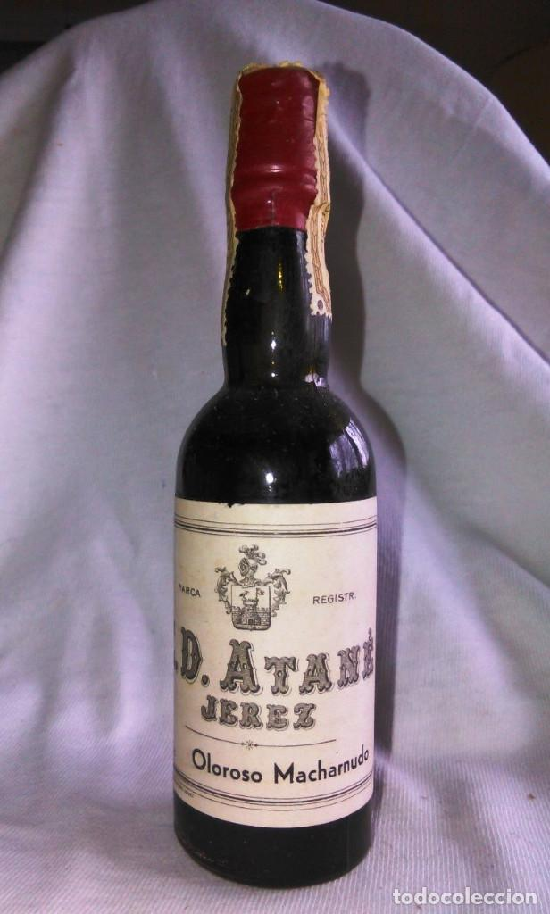 Botellín de vino oloroso macharnudo. Bodegas Eduardo Delage, E.D. Atané. Jerez. Botellita. A1211. segunda mano