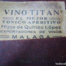 Coleccionismo de vinos y licores: 4 ANTIGUAS ETIQUETAS DE VINO TITÁN MÁLAGA. Lote 103429279