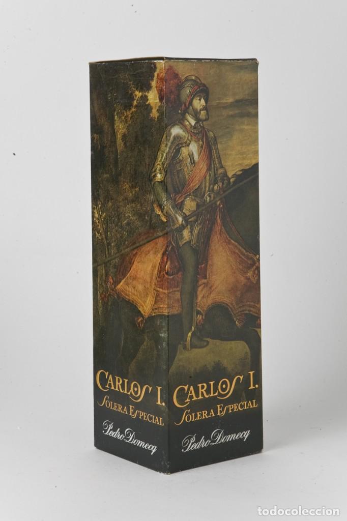 CAJA BOTELLA BRANDY PEDRO DOMECQ, CARLOS I, SOLERA ESPECIAL (Coleccionismo - Botellas y Bebidas - Vinos, Licores y Aguardientes)