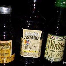 Coleccionismo de vinos y licores: BOTELLINES (3). AMARO SICILIANO, AMARO ASIAGO Y RADIS. Lote 105052483