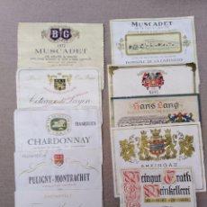 Coleccionismo de vinos y licores: ANTIGUO LOTE DE 10 ETIQUETAS DE VINO VARIADAS. Lote 105081519
