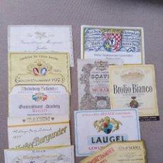 Coleccionismo de vinos y licores: ANTIGUO LOTE DE 10 ETIQUETAS DE VINO VARIADAS. Lote 105081799