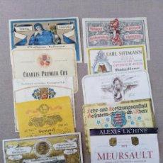 Coleccionismo de vinos y licores: ANTIGUO LOTE DE 10 ETIQUETAS DE VINO VARIADAS. Lote 105082051