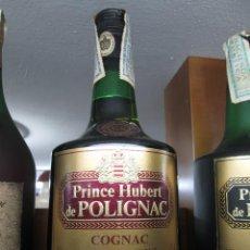 Coleccionismo de vinos y licores: ANTIGUA BOTELLA BRANDY COÑAC, PRINCIPE HUBERT DE POLIGNAC IMPUESTO DE 8 PTS DECADA AÑOS 70-80. Lote 107271427