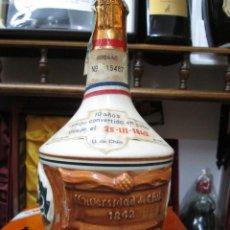 Coleccionismo de vinos y licores: ANTIGUA BOTELLA COÑAC BRANDY, UNIVERSIDAD DE CHILE 1842 BOTELLA VACIA CERAMICA DE CHILE. Lote 108268519
