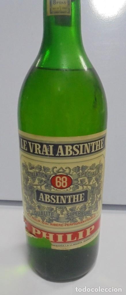 Coleccionismo de vinos y licores: BOTELLA DE ABSENTA 68. lE VRAI ABSINTHE. 60º. CERRADA. 1 LITRO. VER FOTOS. - Foto 2 - 108967259