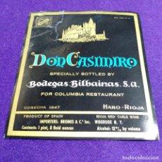 Coleccionismo de vinos y licores: RARA ETIQUETA VINO RIOJA. PRUEBA DE IMPRENTA. DON CASIMIRO. BODEGAS BILBAINAS. HARO. USA. Lote 109168227