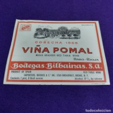 Coleccionismo de vinos y licores: RARA ETIQUETA VINO RIOJA. PRUEBA DE IMPRENTA. VIÑA POMAL 1966. BODEGAS BILBAINAS. HARO. USA. Lote 109168407