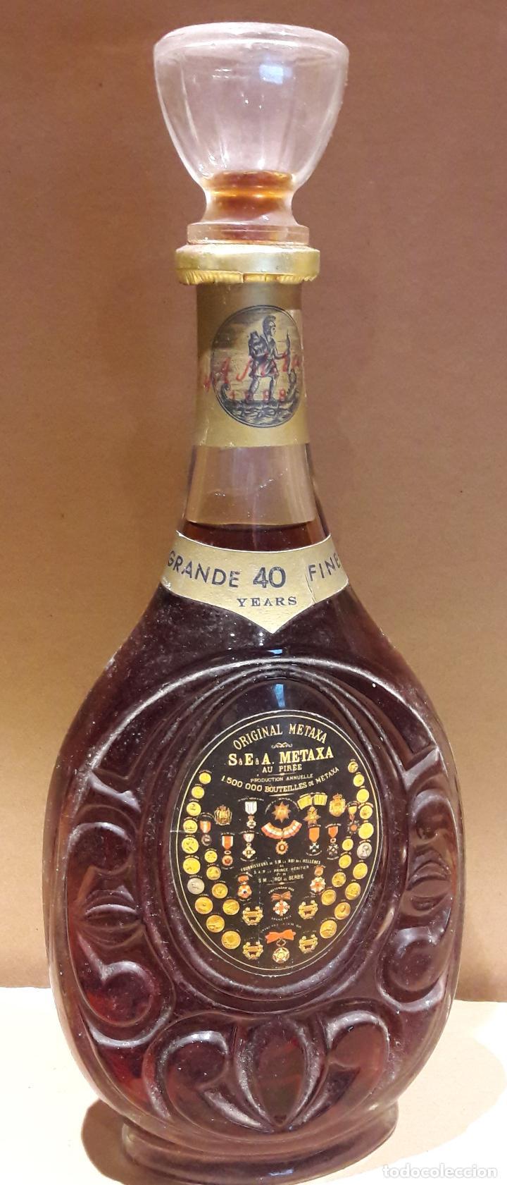 EXCEPCIONAL BOTELLA DE BRANDY METAXA GRANDE FINE 40 YEARS / COMPRADA EN LOS '70 (Coleccionismo - Botellas y Bebidas - Vinos, Licores y Aguardientes)