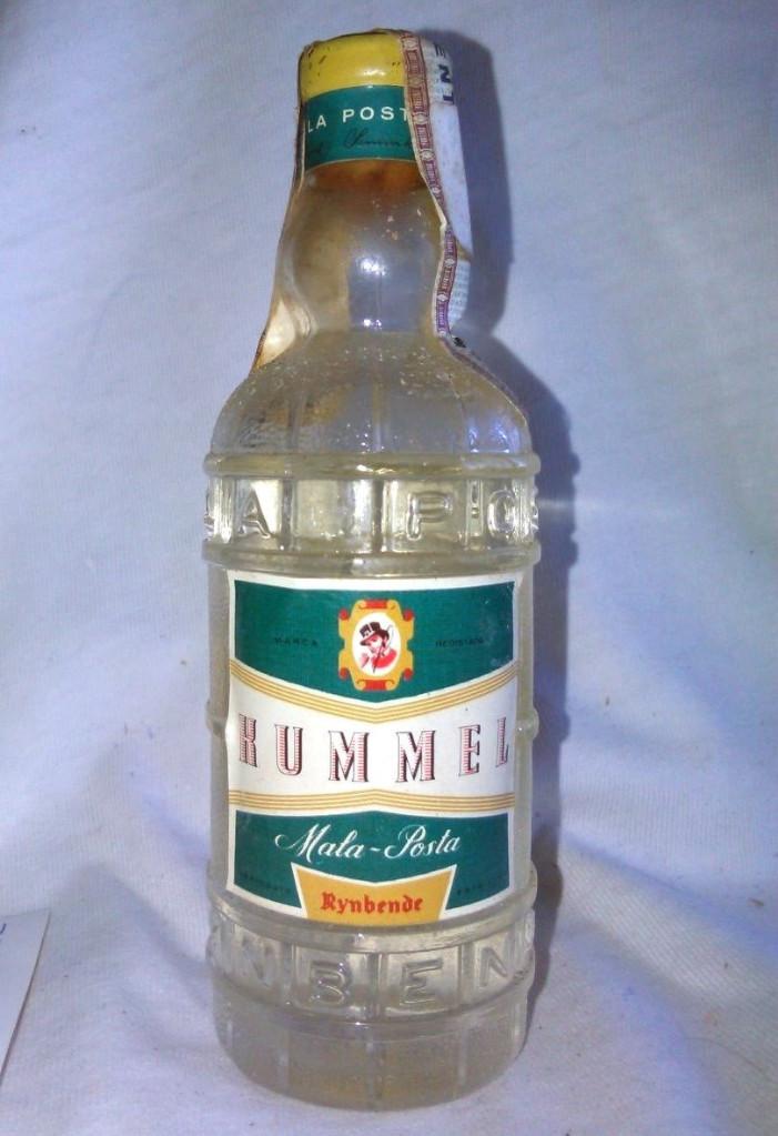 BOTELLÍN DE RUMMEL. MALA POSTA, RYNBENDE. FABRICADO EM PORTUGAL. BOTELLA EN MINIATURA. A3115. (Coleccionismo - Botellas y Bebidas - Vinos, Licores y Aguardientes)