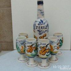 Coleccionismo de vinos y licores: BOTELLA JEREZ + SEIS COPAS. Lote 113199727