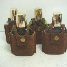 Coleccionismo de vinos y licores: 4X BOTELLA/PETACA - WHISKY WILLIAM LAWSONS - PIEL CRISTAL TAPON CHUPITO - LAWSON´S FRASCO. Lote 113676155