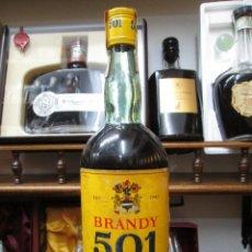 Coleccionismo de vinos y licores: ANTIGUA BOTELLA BRANDY COÑAC, 501 AMARILLA 1783 DE IMPUESTO DE 4 PTS, DECADA 60-70. Lote 114456667