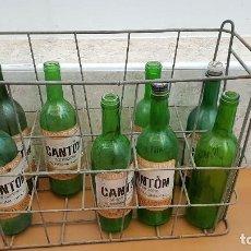 Coleccionismo de vinos y licores: CAJA DE ALAMBRE CON 8 BOTELLAS VACÍAS DE VINO CANTON RESERVA. . Lote 115187075