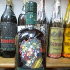 Coleccionismo de vinos y licores: ANTIGUA BOTELLA BRANDY COÑAC, DIOS BACO SOLERA GRAN RESERVA JEREZ ESPAÑA. Lote 115477659