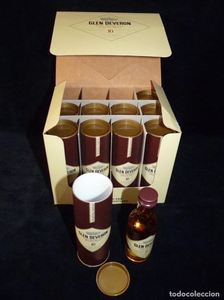 CAJA CON 10 BOTELLINES DE WHISKY GLEN DEVERON 10 AÑOS. 5 CL.. ESTUCHADOS. PERFECTOS. MINIATURAS (Coleccionismo - Botellas y Bebidas - Vinos, Licores y Aguardientes)