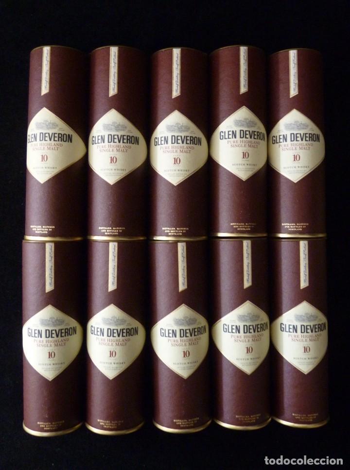 Coleccionismo de vinos y licores: CAJA CON 10 BOTELLINES DE WHISKY GLEN DEVERON 10 AÑOS. 5 cl.. ESTUCHADOS. PERFECTOS. MINIATURAS - Foto 6 - 115567875