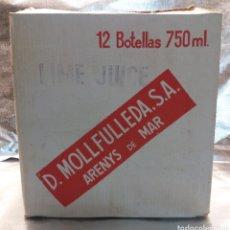 Coleccionismo de vinos y licores: ANTIGUA CAJA MOLLFULLEDA LICOR ARENYS DE MAR CAPACIDAD 12 BOTELLAS AÑOS 70. (LIME JUICE CALISAY). Lote 115616939
