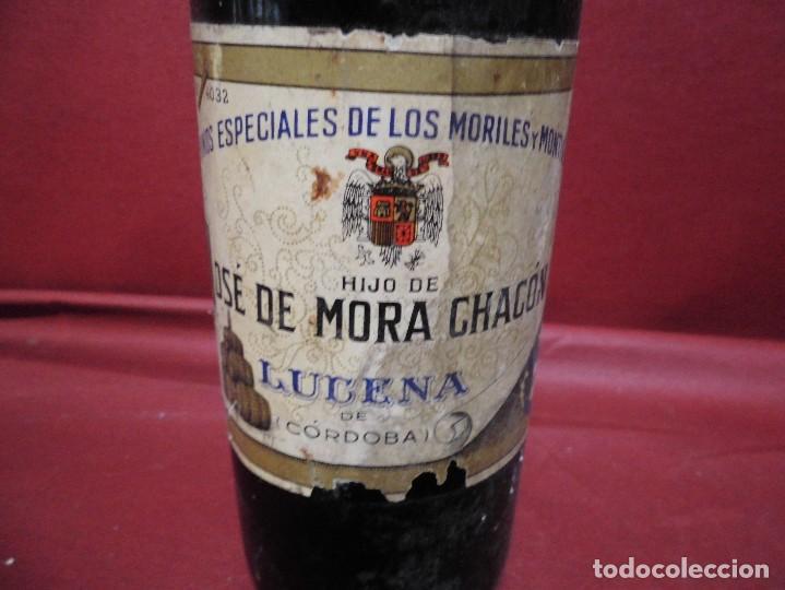 Coleccionismo de vinos y licores: magnifica antigua botella llena de vino,vinos especiales de los moriles y montilla - Foto 3 - 117237671