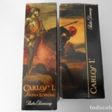 Coleccionismo de vinos y licores - BRANDY CARLOS I SOLERA ESPECIAL DOS BOTELLAS ANTIGÜAS CON PRECINTO DE HACIENDA DE 4 Y 8 PESETAS - 119865715
