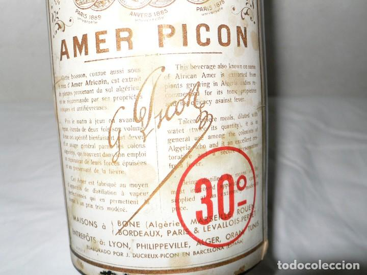 Coleccionismo de vinos y licores: ANTIGUA BOTELLA AMER PICON 30º - Foto 4 - 121043715