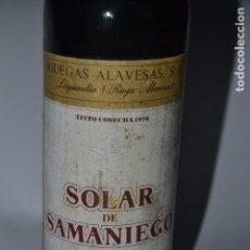 Coleccionismo de vinos y licores: BOTELLA DE VINO DE RIOJA SOLAR DE SAMANIEGO 1970. Lote 119765203