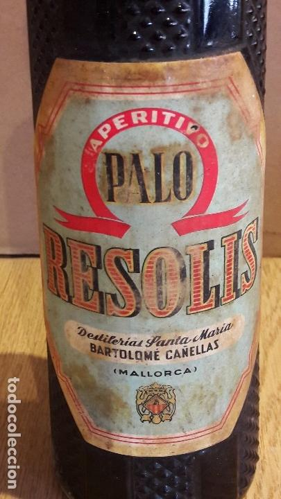 Coleccionismo de vinos y licores: BOTELLA APERITIVO PALO RESOLIS / DESTILERÍAS STA. MARÍA / BARTOLOMÉ CAÑELLAS / SIN ABRIR. - Foto 3 - 122263799