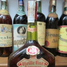 Coleccionismo de vinos y licores: ANTIGUA BOTELLA BRANDY COÑAC,ARMAGNAC VIEILLE FINE SELECCIÒN IMPUESTO DE 8 PTS. DECADA 80-90. Lote 124285543