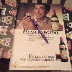 Coleccionismo de vinos y licores: ANTIGUO ANUNCIO PUBLICIDAD AÑOS 80 PARA ENMARCAR VINO ELEGIDO. Lote 124606483