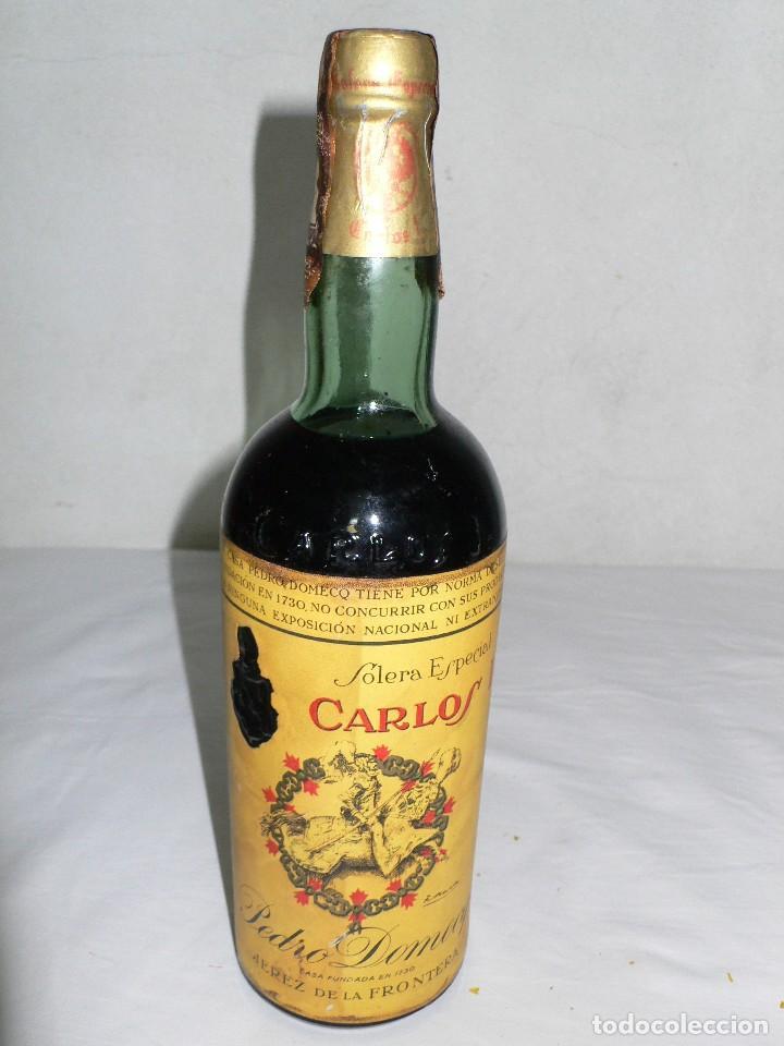 ANTIGUA BOTELLA BRANDY SOLERA ESPECIAL CARLOS I DE DOMECQ.JEREZ (Coleccionismo - Botellas y Bebidas - Vinos, Licores y Aguardientes)
