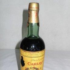 Coleccionismo de vinos y licores: ANTIGUA BOTELLA BRANDY SOLERA ESPECIAL CARLOS I DE DOMECQ.JEREZ. Lote 128161431