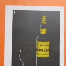 Coleccionismo de vinos y licores: PUBLICIDAD 1957 - COLECCIÓN BEBIDAS - OSBORNE AMONTILLADO COQUINERO. Lote 132210486