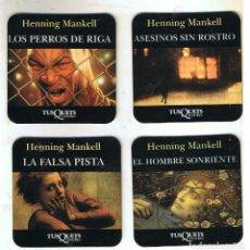Coleccionismo de vinos y licores: CUATRO POSAVASOS PLASTIFICADOS DE HENNING MANKEL. Lote 132794514