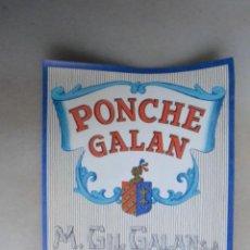 Coleccionismo de vinos y licores: ETIQUETA DE PONCHE GALAN M GIL GALAN JEREZ. NUNCA PEGADA. Lote 133472730