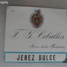 Coleccionismo de vinos y licores: ETIQUETA DE JEREZ DULCE F G CEBALLOS.SIN PEGAR. JEREZ DE LZ FRONTERA. Lote 133473394