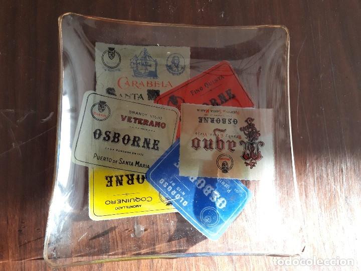 CENICERO BANDEJA OSBORNE MAGNO. CRISTAL. AÑOS 60-70S. (Coleccionismo - Botellas y Bebidas - Vinos, Licores y Aguardientes)