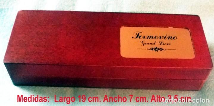 Coleccionismo de vinos y licores: ESTUCHE MADERA DE RAIZ - ACCESORIO VINO SIN USO -TERMOVINO GRAND LUXE.19 x 7x 3,5 cm. - Foto 3 - 139181366