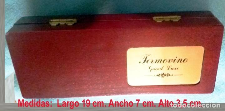 Coleccionismo de vinos y licores: ESTUCHE MADERA DE RAIZ - ACCESORIO VINO SIN USO -TERMOVINO GRAND LUXE.19 x 7x 3,5 cm. - Foto 4 - 139181366